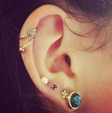 earrings on top of ear 4 ear piercings and 2 pierced cartilages jewelry