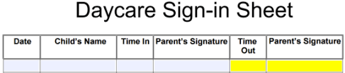 Daycare Sign In Sheet Template Daycare Sign In Sheet Template Eforms Free Fillable Forms