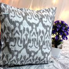 buy grey ikat kantha decorative pillow online at