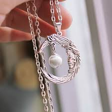 glass ball necklace images Moon necklace glow in the dark glass ball luminous moon angel jpg
