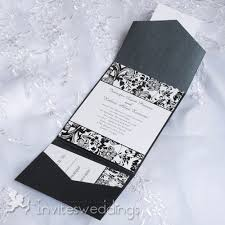 wedding invitations black and white cheap black and white floral pocket wedding invitations iwps089