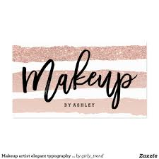 makeup artist elegant typography rose gold stripes pack of