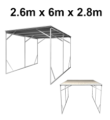 Steel Car Port Vehicle Shelter 2 6m X 6m X 2 8m Steel Carport Wholesales Direct