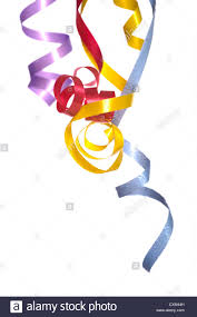 curly ribbon colorful curly ribbon streamers on a white background with copy