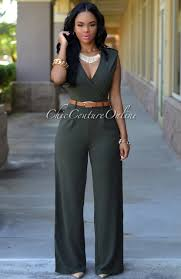 belted jumpsuit chic couture olive green belted jumpsuit http