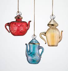 glass ornament set of 3 teapots ornaments holidays