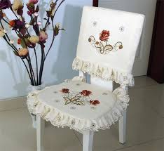Dining Table Chair Covers Beige Flower Embroidered Dining Table Chair Cover Cushion Set