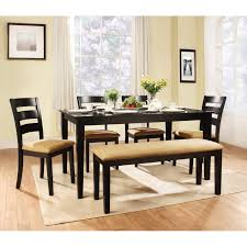 Black Dining Room Set With Bench Dining Table Dining Table White Chairs Black Granite Dining
