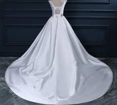 custom made wedding dress backless white scoop neckline beaded sash a line wedding bridal