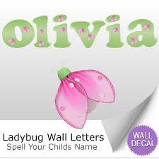 wall letter alphabet initial sticker vinyl stickers decals name ladybug name wall letter stickers