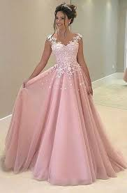 new pink appliques prom dress long prom dresses charming prom