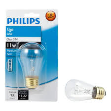 philips home decorative lights philips 11 watt s14 incandescent sign lamp clear light bulb 416644