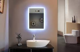 powerful reflection of illuminated bathroom mirror