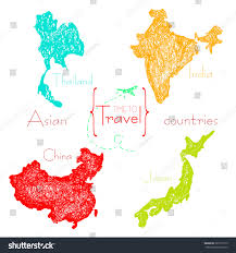 Travel Time Map Set Maps Asian Tourist Countries Drawn Stock Vector 282771515