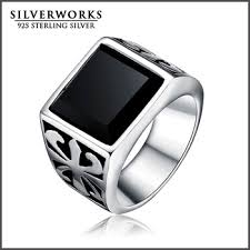 mens stainless steel rings 2017 wholesale men s stainless steel ring black agate onyx