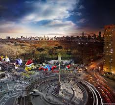 columbus circle photos new york goes from day to in one