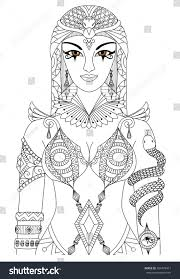 zentangle cleopatra queen egypt design coloring stock vector
