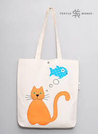 Eco Bag by Cat And Fish Tote Bag Handmade Fabric Bag With Cat Applique