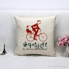 Factory Direct Home Decor Cheap Pillow Cushion Cover Buy by Linen Vintage Heart Shape Bicycle Decorative Throw Pillow Case