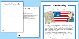 independence day worksheet reading passage and comprehension