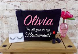 bridal party makeup bags will you be my bridesmaid personalised make up cosmetic bag