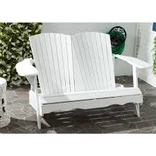 safavieh branco white patio bench with ash gray seat fox6706a