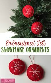 craftaholics anonymous embroidered felt snowflake ornaments