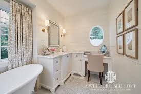 Vanity Table L L Shaped Makeup Vanity Transitional Bathroom