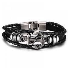 anchor bracelet charm images Vintage anchor bracelet black genuine braided leather charm jpg