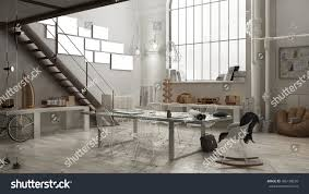 industrial interior office design 3d illustration stock