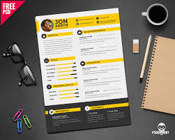 Free Creative Resume Template Psd Download Creative Resume Template Free Psd Psddaddy Com