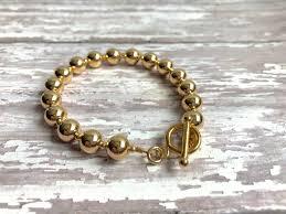 metal bead bracelet images Solid 14 karat gold bead bracelet jpg