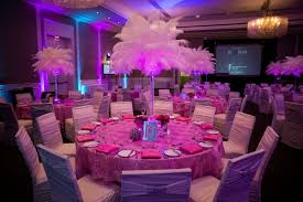 bat mitzvah centerpieces white ostrich feathers with pink led