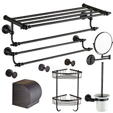 european style oil rubbed bronze 7 piece bathroom accessory sets