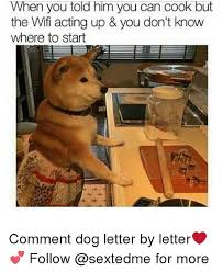 Dog Cooking Meme - when you to him you can cook but the wifi acting up you don t know