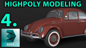 volkswagen beetle studio max 3d high poly car modeling part 4 hood 3d tutorial vw beetle