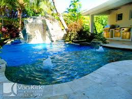 Backyard Pool With Lazy River by Rock Waterfall Slide Lazy River Palm Beach County Van Kirk Pools