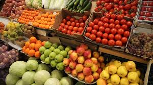 vegetables and fruits on the shelves of the market stock video