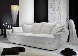furniture italian sofa with white tone with artistic long bowl