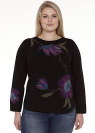 toni plus toni t floral print sweater with shirt tail hem