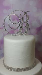 b cake topper initial monogram wedding cake topper swarovski rhinestone
