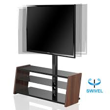 Shelves For Tv by Fitueyes Tv Stand With Swivel Mount 3 Shelves For 32 55 Inch Led