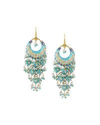 gunmetal chandelier earrings chamak by priya kakkar half moon chandelier earrings in blue lyst