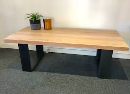 recycled tasmanian oak coffee table with black metal legs