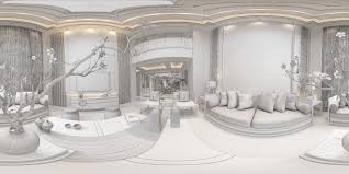 panorama antique chinese style living room restaurant space 3d