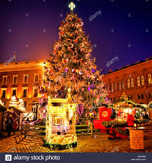 european christmas market square in the evening riga stock photo