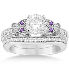 what is a bridal set ring butterfly diamond amethyst bridal set 14k white gold 0 42ct
