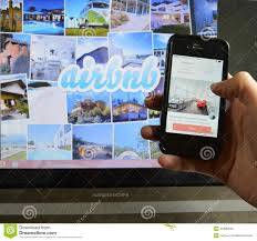 airbnb and laptop editorial stock photo image 45680633