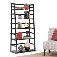 Leaning Ladder 5 Shelf Bookcase Simpli Home Acadian Dark Tobacco Brown Ladder Bookcase Axss008kd