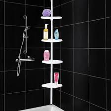 Telescopic Bathroom Shelves Adjustable Telescopic 4 Tier Bathroom Corner Shower Shelf Rack